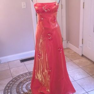 Cache prom gown orange with accents size 2